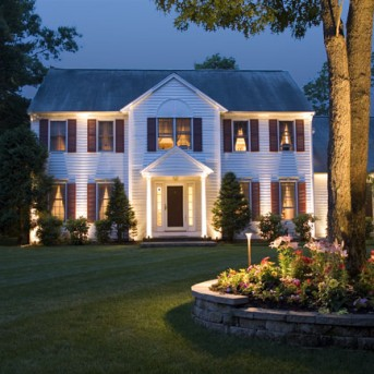 Home Lit with Landscape Lighting