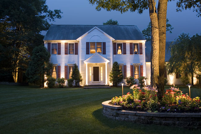 Home Lit with Landscape Lighting