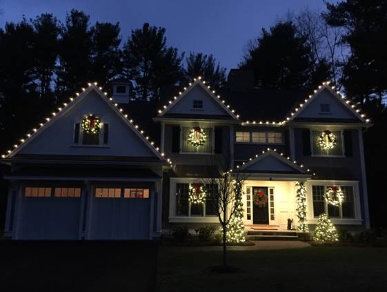 Home Decorated with Holiday Lights