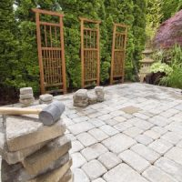 Stone patio in the backyard