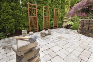 Stone patio in the backyard