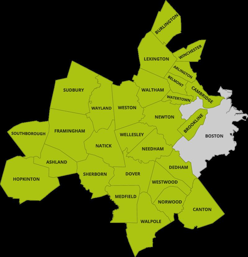 Massachusetts service area map
