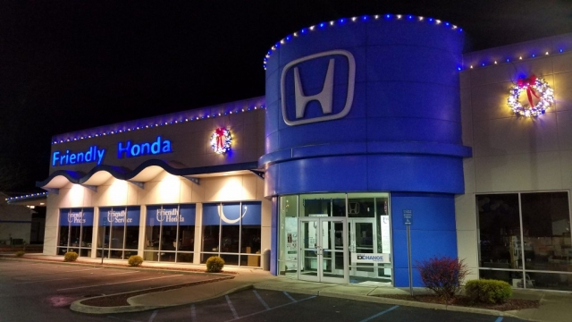 Holiday Lighting on Honda Dealership Building