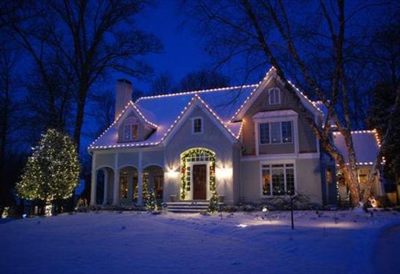 Christmas lights on home