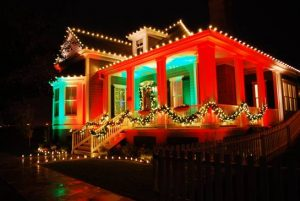 Christmas decorations and lights on house