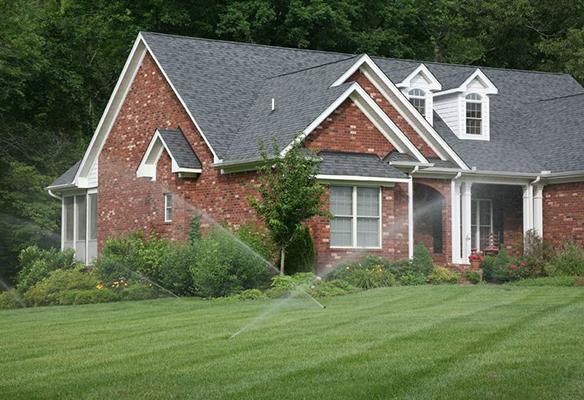 Lawn sprinkler system at home